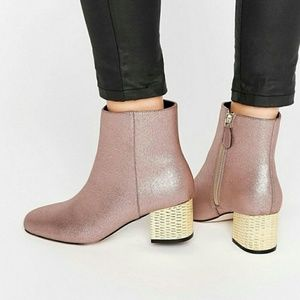 Pre-loved ASOS pink boots with gold heel